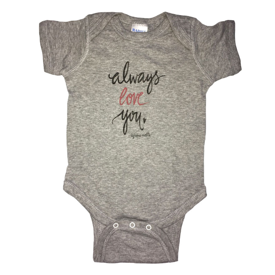 Always Love You Onesie Grey